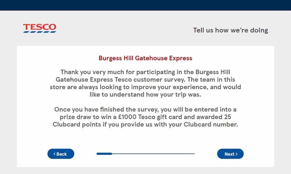 tescoviews.com survey step 3
