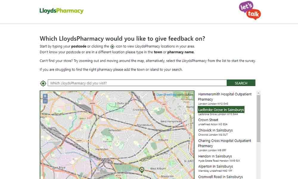 Lloyds Pharmacy Let's Talk Survey
