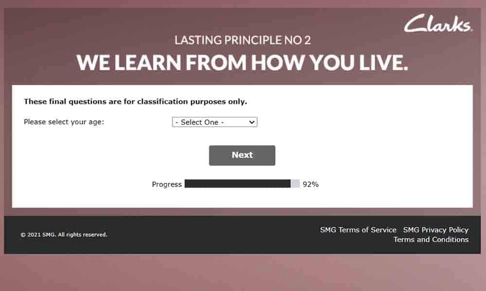 www.neverstandstillclarks.co.uk survey