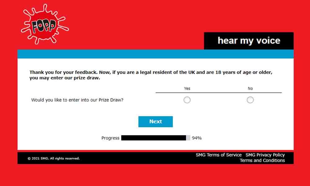 fopp customer feedback survey